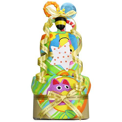 オムツケーキ 出産祝い Sassy サッシー 豪華2段 おむつケーキ パンパース テープタイプ M 手作り 男女兼用
