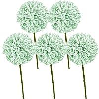 10ピース人工菊ボールの花リアルなシルクの花の装飾ホームオフィスのコーヒーハウスパーティーの結婚式のブーケ(グリーン)