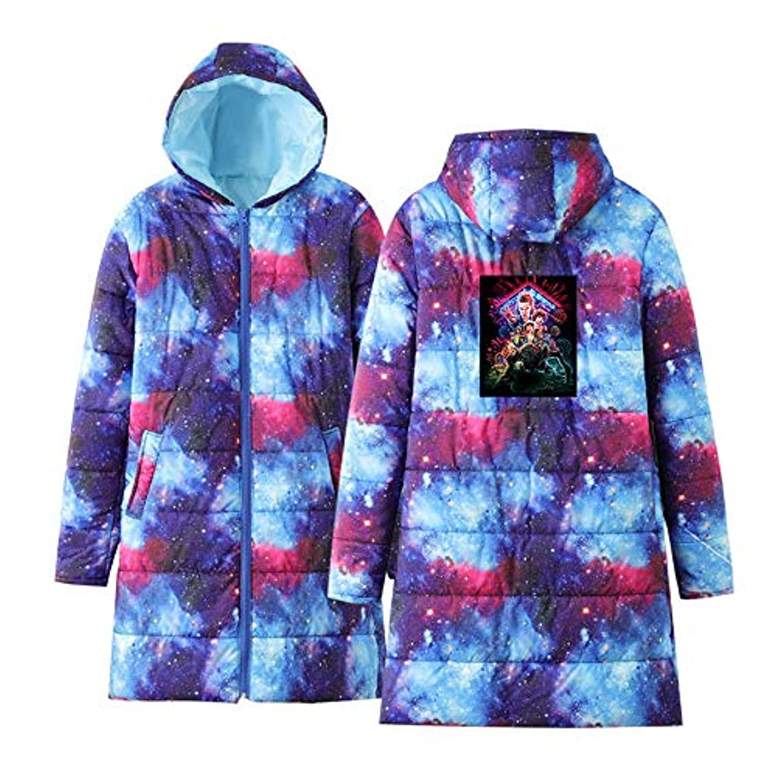 トーク貨物付属品男性と女性の軽量コート、超軽量スリムフード付き暖かいカジュアルロングスリーブ印刷ヨーロッパアメリカのトレンドダウンジャケット,Starrysky,S