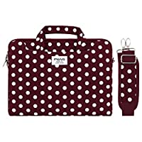 MOSISO Laptop Shoulder Bag Compatible with 13-13.3 inch MacBook Pro, MacBook Air, Notebook Computer, Pattern Briefcase Sleeve with Trolley Belt, Wine Red Base White Dots
