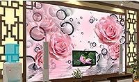 Minyose テレビのリビングルームの背景の壁3Dの壁紙ピンクのバラ家族の背景の壁の装飾壁画3Dの壁紙役-350cmx245cm