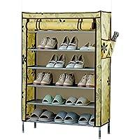 シューズラック- 靴ラックアセンブリフレームオックスフォード布靴ラックストレージシェルフドア防塵6層大容量(L80 * W30 * H112cm)