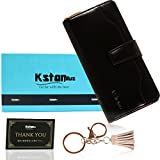 Kstarplus 財布 レディース 長財布 ブランド人気 カード16枚収納 取り出しやすい小銭入れ 大容量収納可能 (黒)