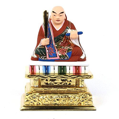 木彫仏像 日蓮聖人 座像 2.0寸 桧木彩色