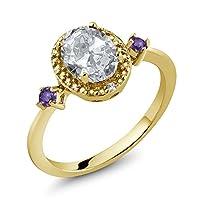 Gem Stone King 1.43カラット 天然 トパーズ (無色透明) 指輪 リング レディース 天然 アメジスト 天然 ダイヤモンド シルバー925 イエローゴールドコーティング