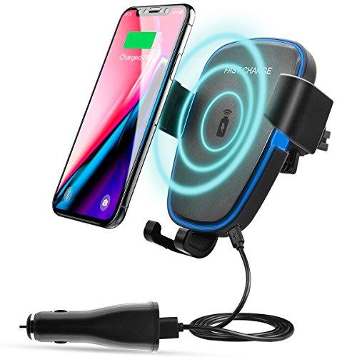 AOGE ワイヤレス車の充電器 車載ホルダー エアコン吹き出し口 qi ワイヤレス充電器 360度回転 急速充電 重力原理で自動調節 iPhone X/8/8 Plus/Galaxy S8/S8 Plus/S7/S7 Edge/S6/S6 Edge/Note 8/Note 5/Nexus 5/6 対応(黒)