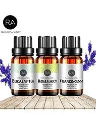 RAINBOW ABBY フランキンセンス、ローズマリー、ユーカリ エッセンシャル オイル 10ML 純粋な 天然 アロマセラピー オイル 治療用 グレード バリュー 3パック