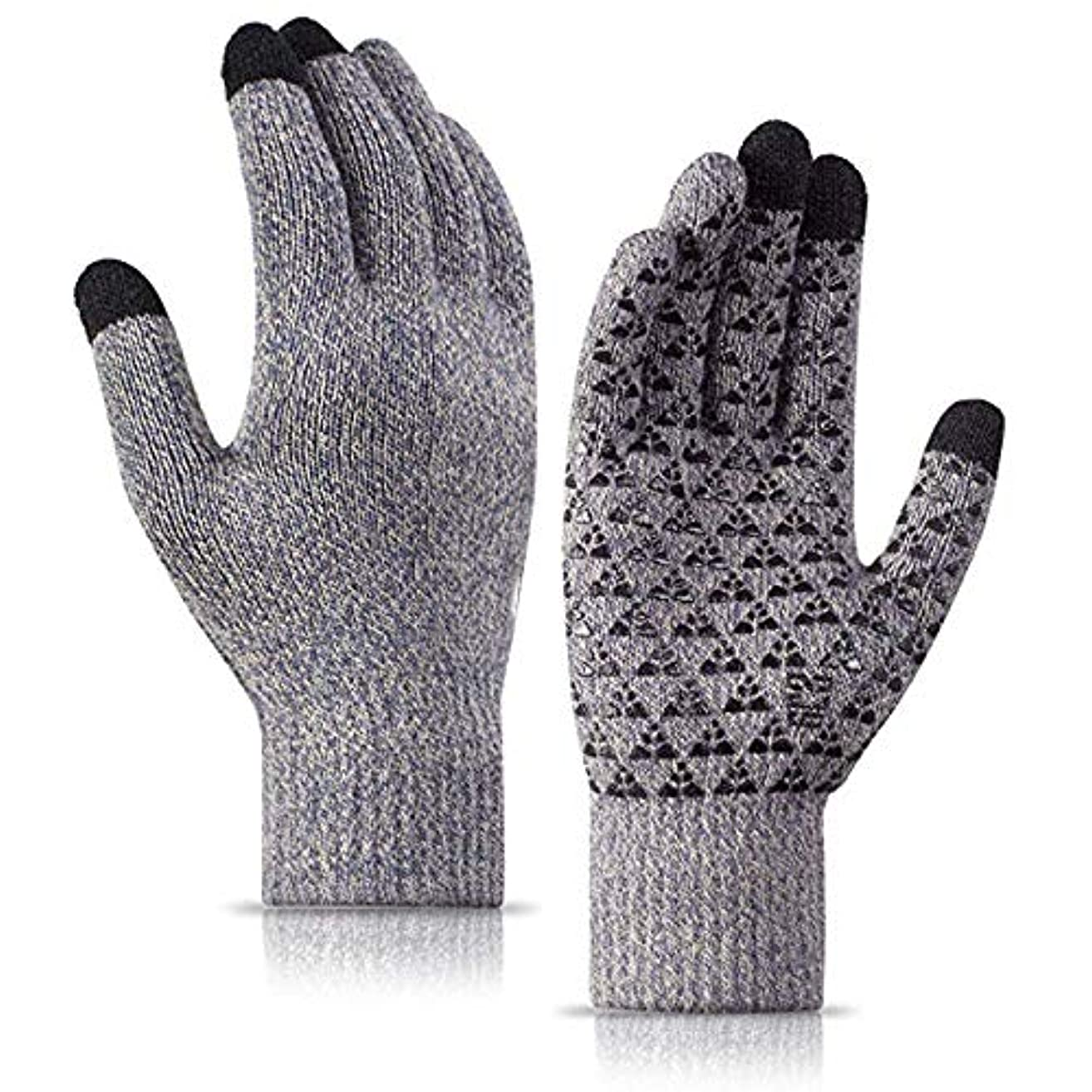 動機付ける同様の減衰男性と女性のための冬の手袋 - ニットタッチスクリーンアンチスリップシリコーンゲル - 弾性カフ?? - サーマルソフトウールライニング - 伸縮性のある素材,グレー