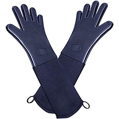 Silicone Oven Gloves Heat Resistant Non-Slip Barbecue Mitts Waterproof Kitchen Cooking Gloves with Long Canvas Cuffs&Cotton Lining Wrist Protection for Grilling Baking,1 Pair