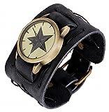 SCREW DRIVE 腕 時計 ビック ワイド フェイクレザー ブレス レット レトロ パンク ロック 黒