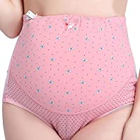 Soft Comfortable Cotton Pregnant Women Panties Adjustable High Waist Maternity Underwear Short Abdominal Pants-Pink 3XL