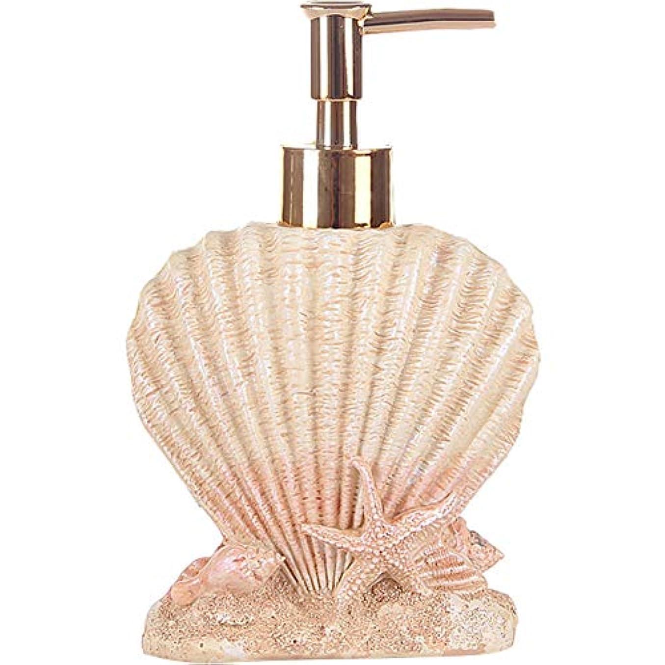 タンパク質うねる振り向く(Shell) - Creative Beach Shells European Style Hand Soap Liquid Bottles Resin Shampoo Dispenser (shell)