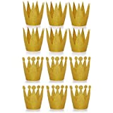 Amy Basic (12 Pcs) Gold Birthday Crown Hats for Birthday, Party and Wedding Anniversary.