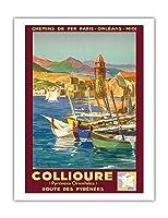 コリウール、フランス - Pyr?n?es Orientales (東ピレネー) - ピレネー山脈を抜ける道 - パリ・オルレアン・ミディ鉄道 - ビンテージな鉄道旅行のポスター によって作成された E・ポール・シャンプセックス 1934 - アートポスター - 51cm x 66cm