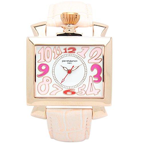 [ピエールタラモン]pierretalamon 腕時計 スクエア ビッグフェイス ウォッチ ピンク PT-6000-3 レディース