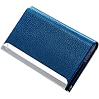 Litchi Pattern PU Leather Alloy Small Business Card Holder Case ID Card/Credit Card Holder Pouch Metal Gift Card Holder Box, Holds Up To 25 ID Card, Magnetic Bifold Close
