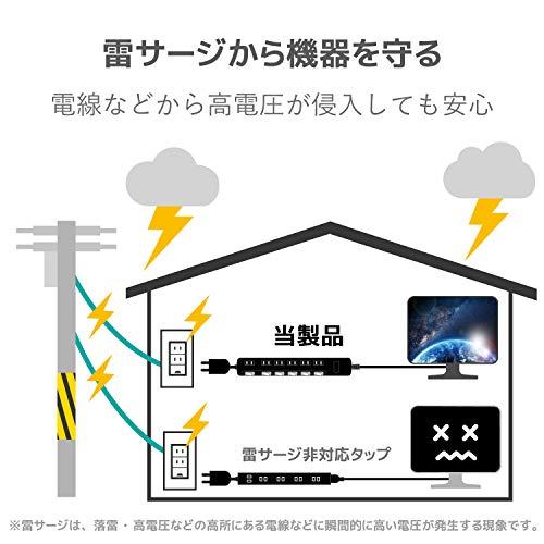『エレコム 電源タップ 雷ガード 個別スイッチ ほこりシャッター付 6個口 3m ブラック T-K6A-2630BK』の2枚目の画像