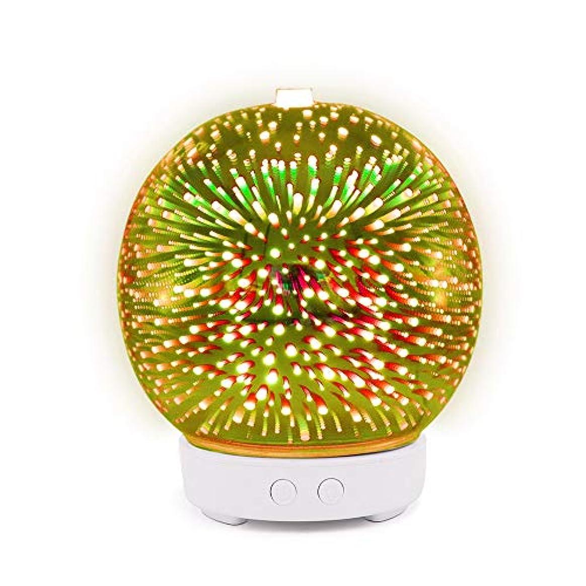 ミニ思想曲線Decdeal アロマディフューザー 3D ガラス アロマセラピー 加湿器 7色LEDライト付き 自動シャットオフ