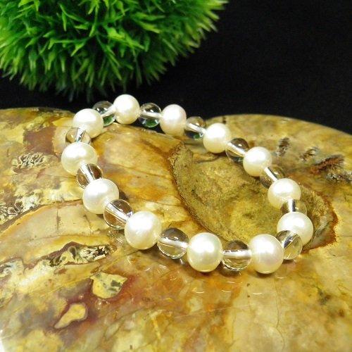 小さいサイズ6月誕生石パールAAA天然クリスタル(本水晶)ブレスレット8mm玉数珠本物の高品質天然石だけを使用鑑別済み子供や細身の女性専用サイズ