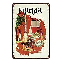 フロリダホース 金属スズヴィンテージ安全標識警告サインディスプレイボードスズサインポスター看板建設現場通りの学校のバーに適した