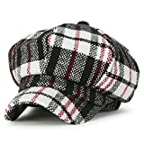 (イリリリー) ililily タータン チェック柄 ウール混 ニュースボーイハット ダックビル アイビー ゴルフ フラットキャップ キャスケット帽, White Tartan Checkered