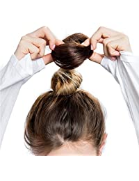 FEIYI WIGSウィッグ シュシュ お団子 つけ毛 100%人毛 エクステ レディース ポイントウィッグ 部分ウィッグ シニヨン 髪飾り パーマ コーム式 花型 結婚式 和装 装着簡単 2種タイプ 3色が選べ
