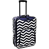 World Traveler 20 Inch Rolling Carry-On Luggage Suitcase Navy White Chevron One Size [並行輸入品]