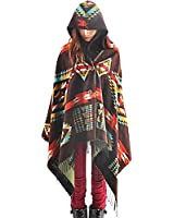 Zicac マント エスニック 可愛いマトン ポンチョ アウター ガールズ フード付き アジアファッション 春、冬、秋
