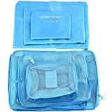 Ccoco 6 Set Travel Packing Organizer, Waterproof Mesh Durable Luggage Travel Cubes For Outdoors And Home Storage (Blue)