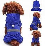 (Meilleur reve)【反射テープ &リードフック付き】中型 大型 犬 レイン コート ウエア かっぱ 足付き パンツ 雨 散歩 アウトドア (7.ブルーXL)