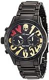 エンジェルクローバー腕時計Roenコラボレーションブラックダイヤルステンレススチールベルトクロノグラフ日付lc42robbgdメンズ