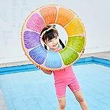 浮き輪 夏浮輪 夏のかわいいプールのおもちゃフルーツ柄の水泳リングオレンジ色フルーツ可愛い 海水浴 海 フロート PVC水泳リング子供/大人のために適した うまく設計された