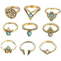 VPbao 9pcs Women Retro Ring Set Rhinestone Joint Knuckle Rings Jewellery