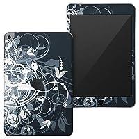 igsticker iPad mini 4 (2015) 5 (2019) 専用 全面スキンシール apple アップル アイパッド 第4世代 第5世代 A1538 A1550 A2124 A2126 A2133 シール フル ステッカー 保護シール 007666 クール 花 フラワー 黒 ブラック