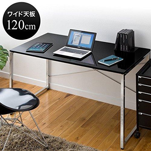 サンワダイレクト パソコンデスク W120×D60cm 高級感のある艶やかな天板 おしゃれ ブラック 100-DESK039BK