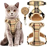 KOOLTAIL Cat Harness Escape Proof and Leash Set - Beige Plaid Adjustable Soft Pet Vest Harnesses for Walking, Fit for Small Medium Cats, Puppy