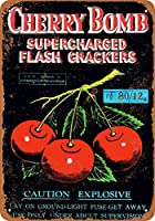 なまけ者雑貨屋 Cherry Bomb Supercharged Firecrackers ブリキ看板 壁飾り レトロなデザインボード ポストカード サインプレート 【20×30cm】