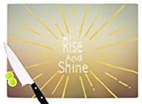 "KESS InHouse Suzanne Carter""Rise And Shine"" White Yellow Cutting Board, 11.5"" x 15.75"", Multicolor [並行輸入品]"