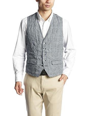 Washed Linen Vest 114-71-0293: Grey
