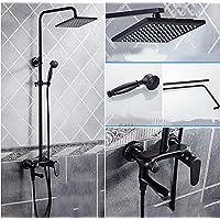 YYF-SHOWER シャワーセット、 黒 真鍮継手、 創造的なシンプルさ 壁掛け式 8インチ トップスプレー 滝 シャワーのような雨、 ハンドシャワー シングルハンドル ミキシングバルブ、 1.5mホース (色 : ブラック, サイズ さいず : 平方)