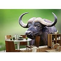 Ljjlm 3D壁紙カスタム写真の壁紙壁画野生動物バッファロー3D絵画寝具部屋のソファテレビ背景壁不織ステッカー-160X120CM