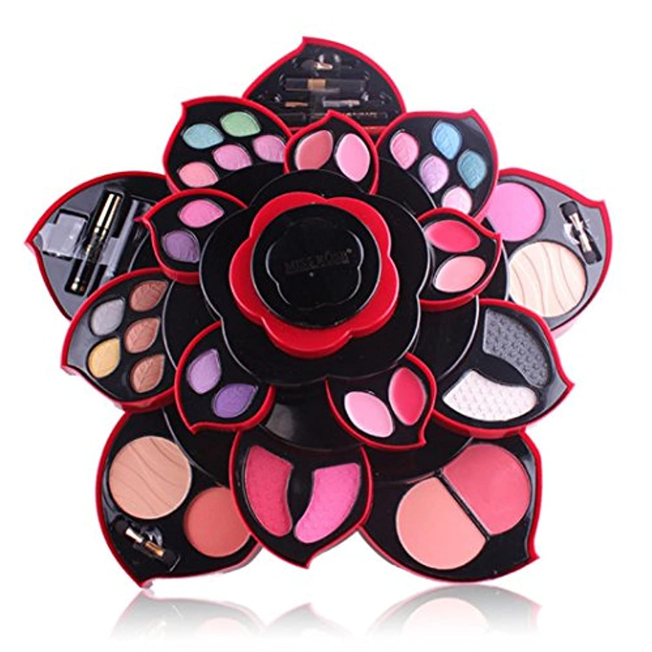完璧誘発する言い訳ビューティー アイシャドー wwkeiying アイシャドウセット ファッション 23色 梅の花デザイン メイクボックス 回転多機能化粧品 プロ化粧師 メイクの達人 プレゼント (02)