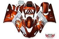 VITCIK (フェアリングキット 対応車種 ヤマハ Yamaha YZF-1000 R1 1998 1999 YZF 1000 R1 98 99) プラスチックABS射出成型 完全なオートバイ車体 アフターマーケット車体フレーム 外装パーツセット(オレンジ色 & ホワイト) A044