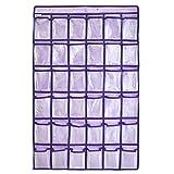 GORBAST 小物収納 透明 ウォール 多機能壁掛け式 カレンダーポケット 吊り下げ 収納 (パープル, 36格)