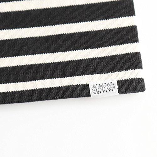 SEVENTYFOUR セブンティーフォー ボーダーポケットTシャツ ブラック×ホワイト BLACK/WHITE BORDER POCKET T-SHIRT (XL, ブラック×ホワイト)