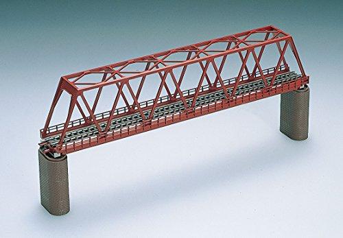 Nゲージストラクチャー 単線トラス形鉄橋 (F) 赤 (れんが橋脚・2本付) 3031