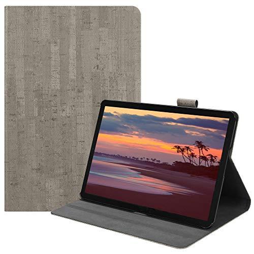 Happon の Samsung Galaxy Tab S4 10.5 inch T835 純正 レザー 財布 シェル カバー, フリップ 立つ, カード スロット, スタイリッシュ, Light Grey