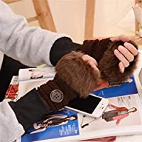 Wazenku クラシックニットミトン手袋女性クリスマスハーフフィンガーグローブの女の子の暖かいニット手袋女性の冬のアクセサリー (色 : B4)
