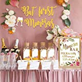 MORDUN Mimosa Bar Sign Banner Tags| Gold Floral Decorations for Bridal Shower Bubbly Bar Champagne Brunch Baby Shower Wedding