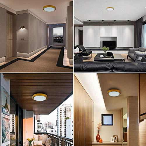 『LEDシーリングライト 木目ライト シーリングライト工事不要 簡単取付 木目調 小型 玄関ライト トイレ 廊下ライト 和室 寝室 ベランダ 階段 照明器具 おしゃれ (10W 昼白色)』の6枚目の画像